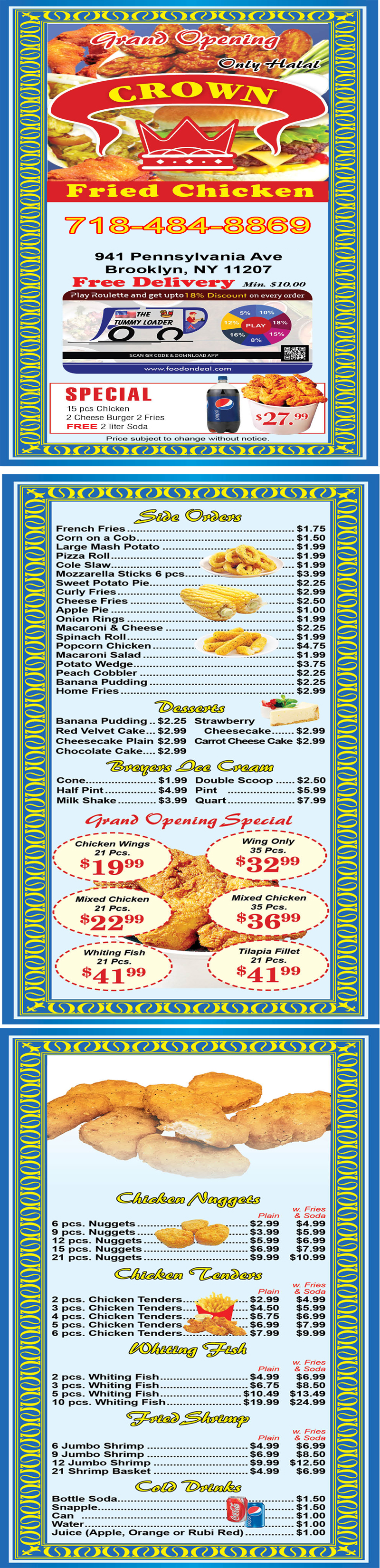 Crown Fried Chicken 941 Menu