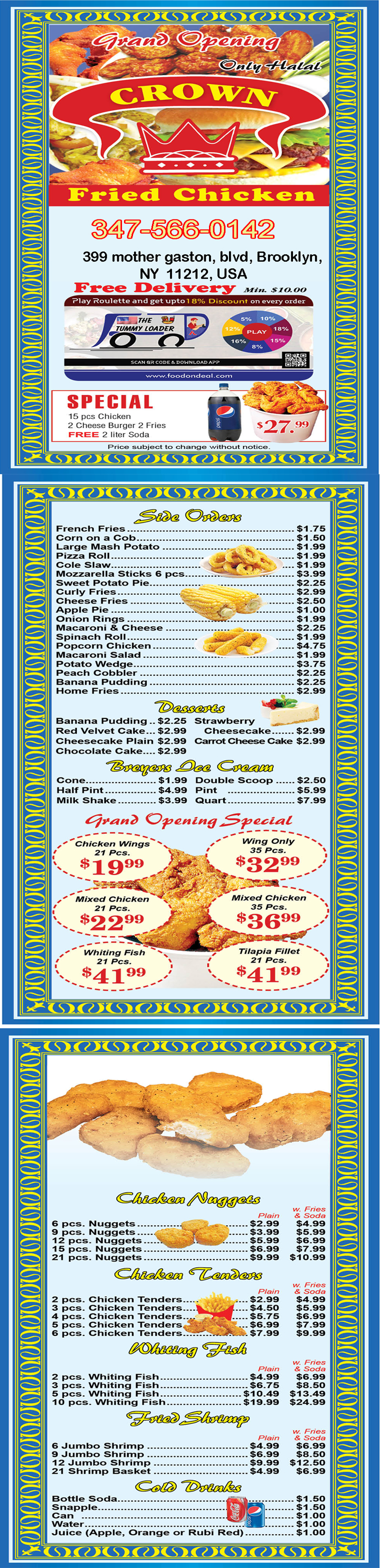 Crown Fried Chicken 399 menu