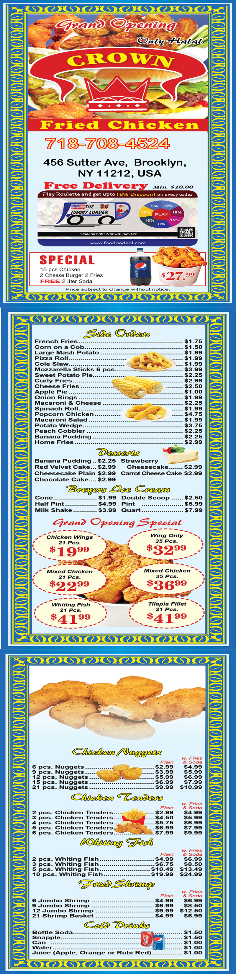 Crown Fried Chicken 456 order menu