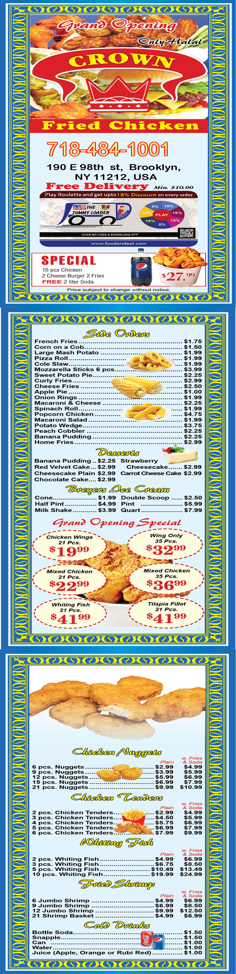 Crown Fried Chicken 190 E 98th St Brooklyn NY 11212 order menu